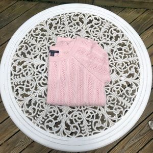 AE Baby Pink 3/4 Sleeve Cable Knit Sweater